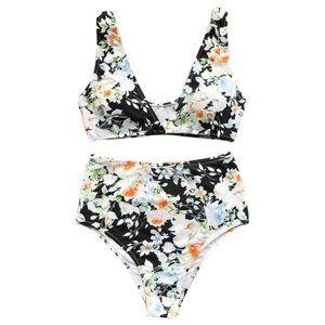 Cupshe Floral High Waist Bikini